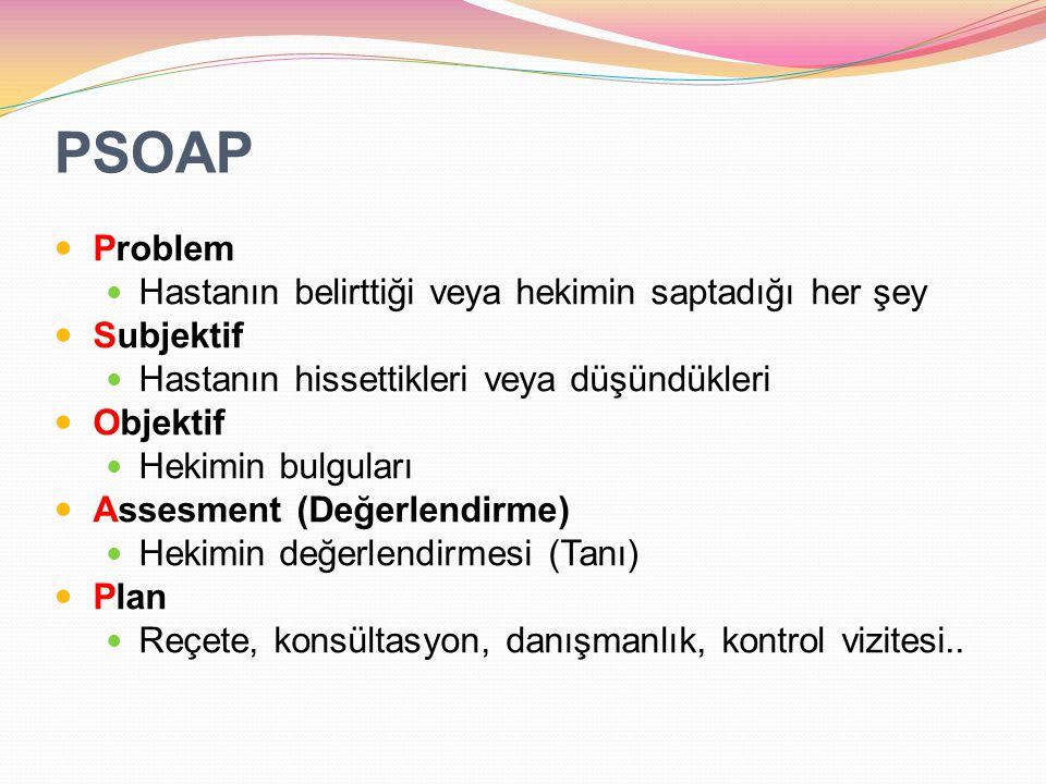 PSOAP Problem Hastanın belirttiği veya hekimin saptadığı her şey Subjektif Hastanın hissettikleri veya düşündükleri Objektif Hekimin bulguları Assesme