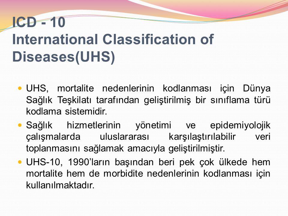 ICD - 10 International Classification of Diseases(UHS) UHS, mortalite nedenlerinin kodlanması için Dünya Sağlık Teşkilatı tarafından geliştirilmiş bir