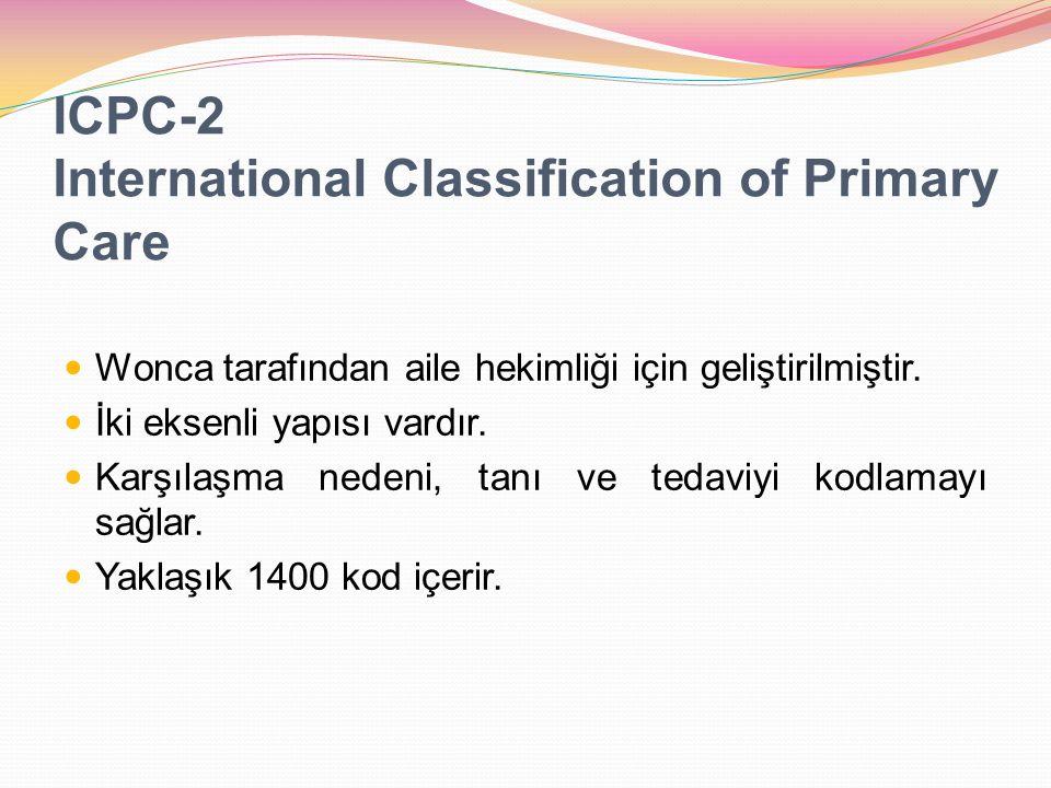 ICPC-2 International Classification of Primary Care Wonca tarafından aile hekimliği için geliştirilmiştir. İki eksenli yapısı vardır. Karşılaşma neden