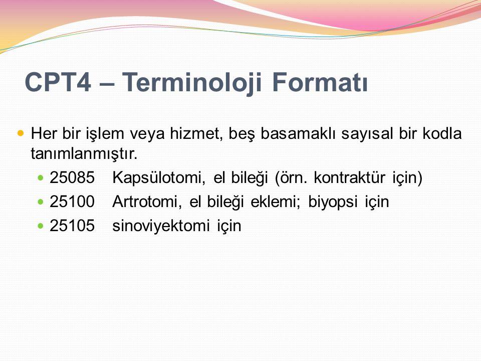CPT4 – Terminoloji Formatı Her bir işlem veya hizmet, beş basamaklı sayısal bir kodla tanımlanmıştır. 25085Kapsülotomi, el bileği (örn. kontraktür içi