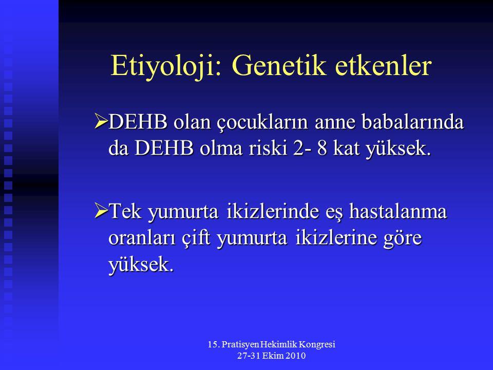 15. Pratisyen Hekimlik Kongresi 27-31 Ekim 2010 Etiyoloji: Genetik etkenler  DEHB olan çocukların anne babalarında da DEHB olma riski 2- 8 kat yüksek