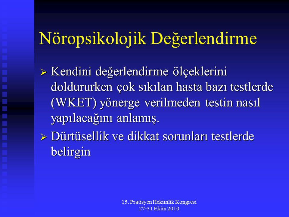 15. Pratisyen Hekimlik Kongresi 27-31 Ekim 2010 Nöropsikolojik Değerlendirme  Kendini değerlendirme ölçeklerini doldururken çok sıkılan hasta bazı te