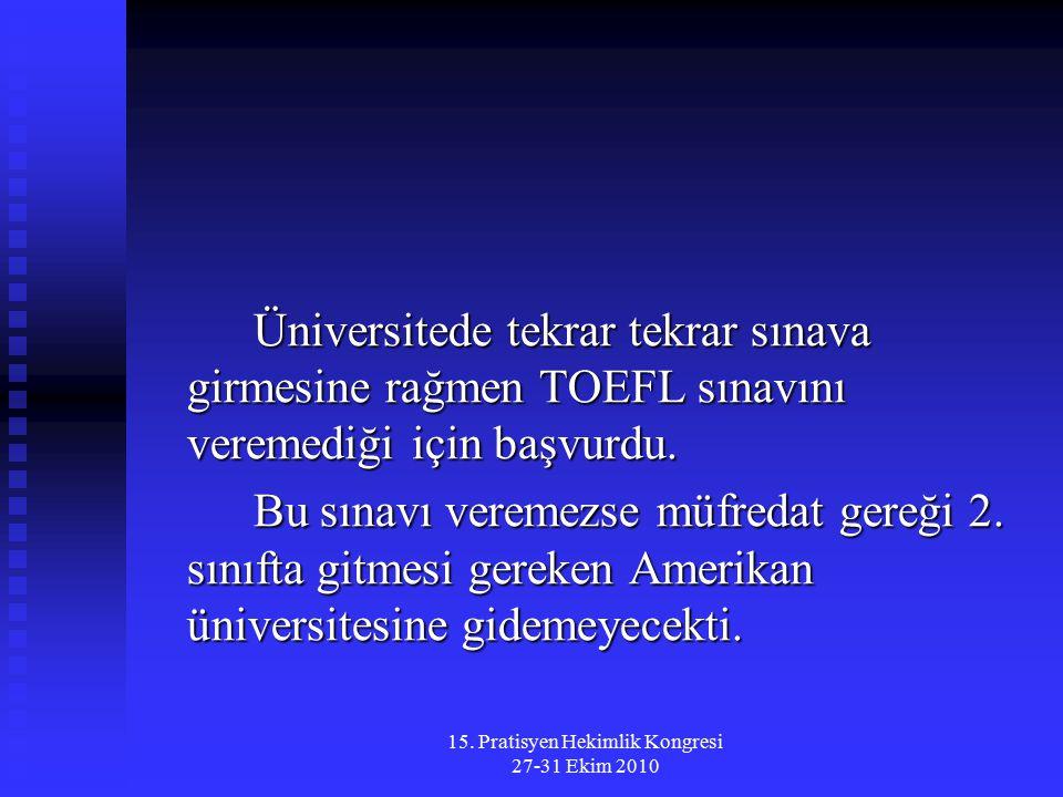 15. Pratisyen Hekimlik Kongresi 27-31 Ekim 2010 Üniversitede tekrar tekrar sınava girmesine rağmen TOEFL sınavını veremediği için başvurdu. Bu sınavı