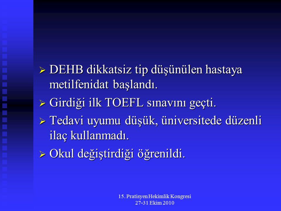 15. Pratisyen Hekimlik Kongresi 27-31 Ekim 2010  DEHB dikkatsiz tip düşünülen hastaya metilfenidat başlandı.  Girdiği ilk TOEFL sınavını geçti.  Te
