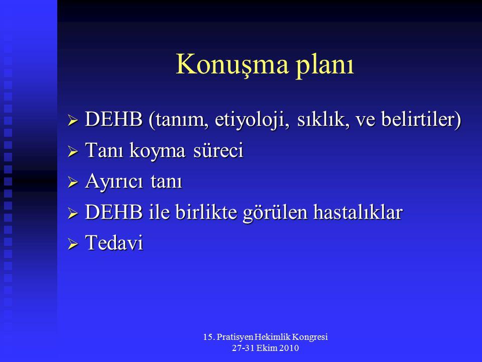 15. Pratisyen Hekimlik Kongresi 27-31 Ekim 2010 Konuşma planı  DEHB (tanım, etiyoloji, sıklık, ve belirtiler)  Tanı koyma süreci  Ayırıcı tanı  DE