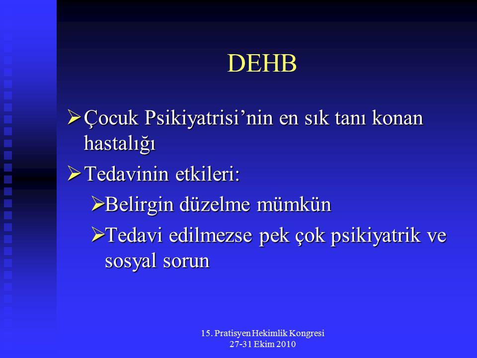 15. Pratisyen Hekimlik Kongresi 27-31 Ekim 2010 DEHB  Çocuk Psikiyatrisi'nin en sık tanı konan hastalığı  Tedavinin etkileri:  Belirgin düzelme müm