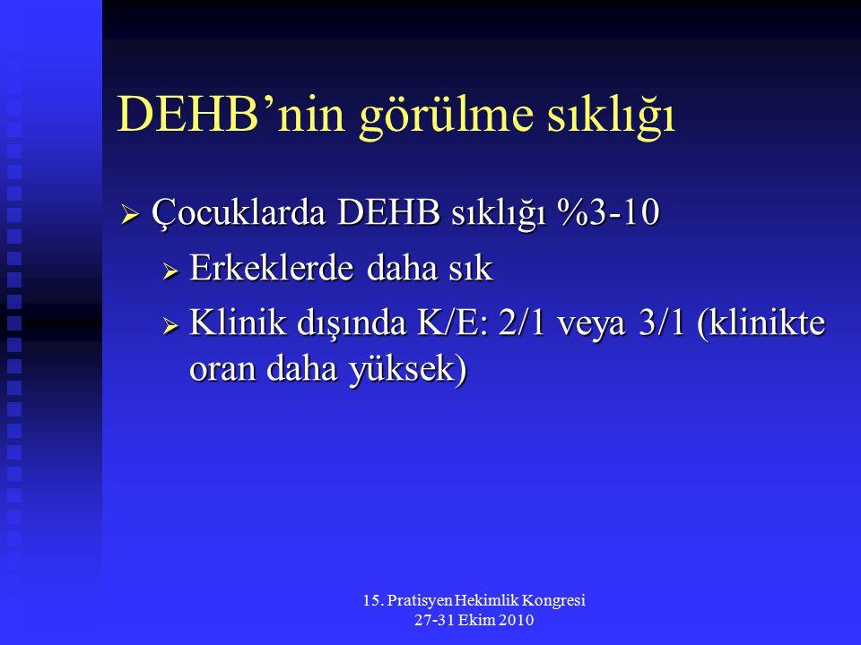 15. Pratisyen Hekimlik Kongresi 27-31 Ekim 2010 DEHB'nin görülme sıklığı  Çocuklarda DEHB sıklığı %3-10  Erkeklerde daha sık  Klinik dışında K/E: 2