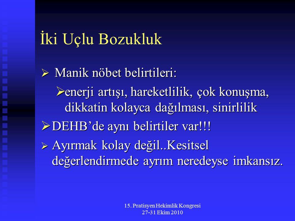 15. Pratisyen Hekimlik Kongresi 27-31 Ekim 2010 İki Uçlu Bozukluk  Manik nöbet belirtileri:  enerji artışı, hareketlilik, çok konuşma, dikkatin kola