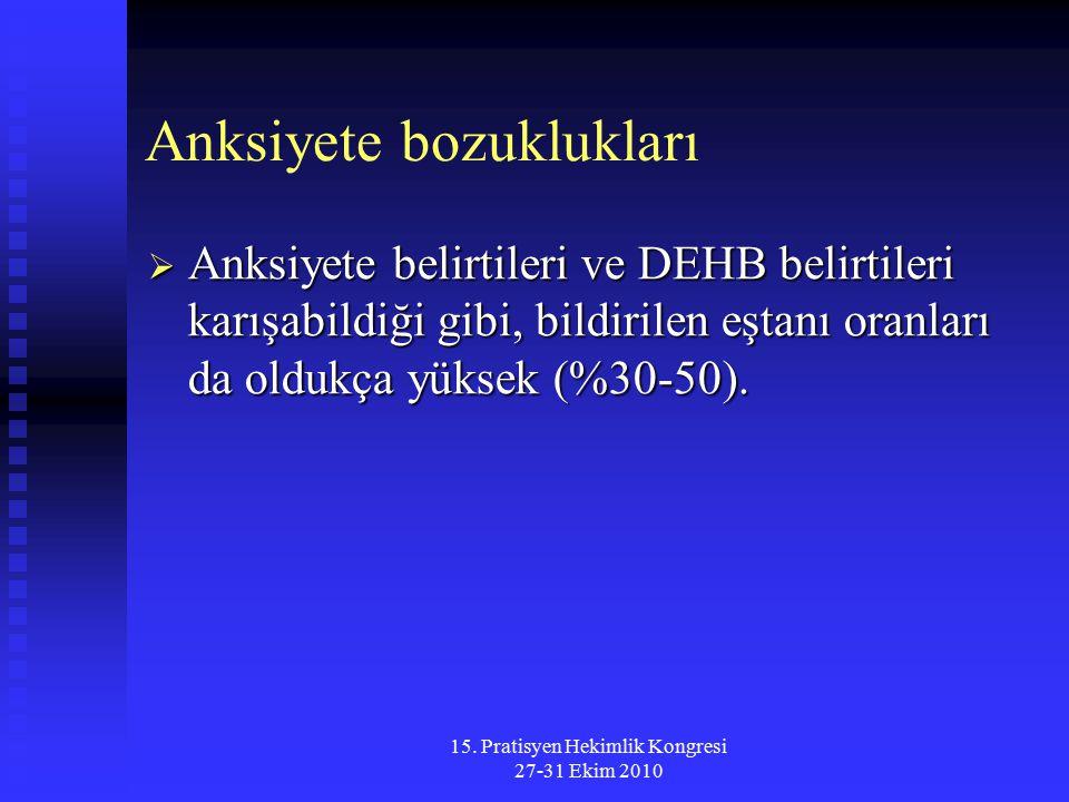 15. Pratisyen Hekimlik Kongresi 27-31 Ekim 2010 Anksiyete bozuklukları  Anksiyete belirtileri ve DEHB belirtileri karışabildiği gibi, bildirilen eşta