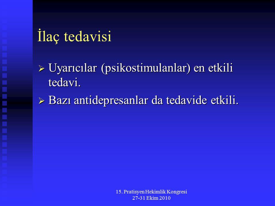 15. Pratisyen Hekimlik Kongresi 27-31 Ekim 2010 İlaç tedavisi  Uyarıcılar (psikostimulanlar) en etkili tedavi.  Bazı antidepresanlar da tedavide etk