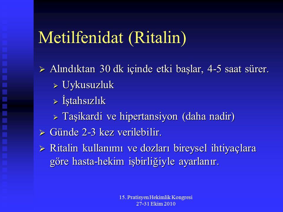 15. Pratisyen Hekimlik Kongresi 27-31 Ekim 2010 Metilfenidat (Ritalin)  Alındıktan 30 dk içinde etki başlar, 4-5 saat sürer.  Uykusuzluk  İştahsızl