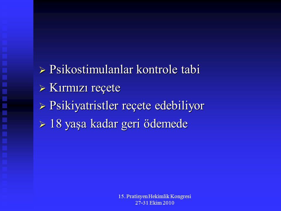 15. Pratisyen Hekimlik Kongresi 27-31 Ekim 2010  Psikostimulanlar kontrole tabi  Kırmızı reçete  Psikiyatristler reçete edebiliyor  18 yaşa kadar