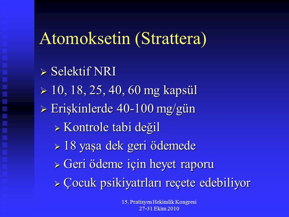 15. Pratisyen Hekimlik Kongresi 27-31 Ekim 2010 Atomoksetin (Strattera)  Selektif NRI  10, 18, 25, 40, 60 mg kapsül  Erişkinlerde 40-100 mg/gün  K