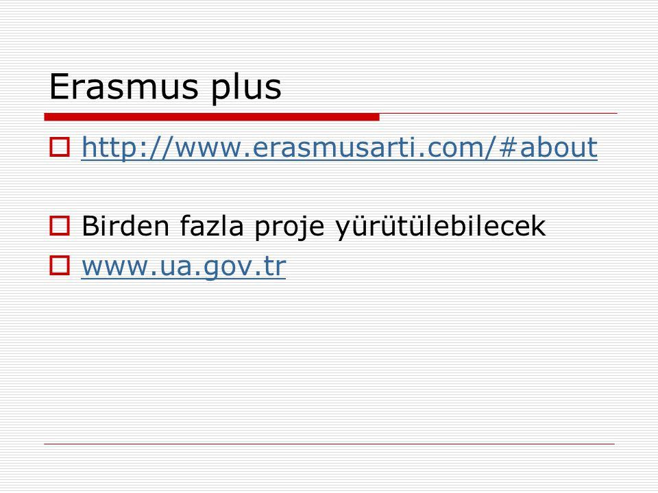 Erasmus plus  http://www.erasmusarti.com/#about http://www.erasmusarti.com/#about  Birden fazla proje yürütülebilecek  www.ua.gov.tr www.ua.gov.tr