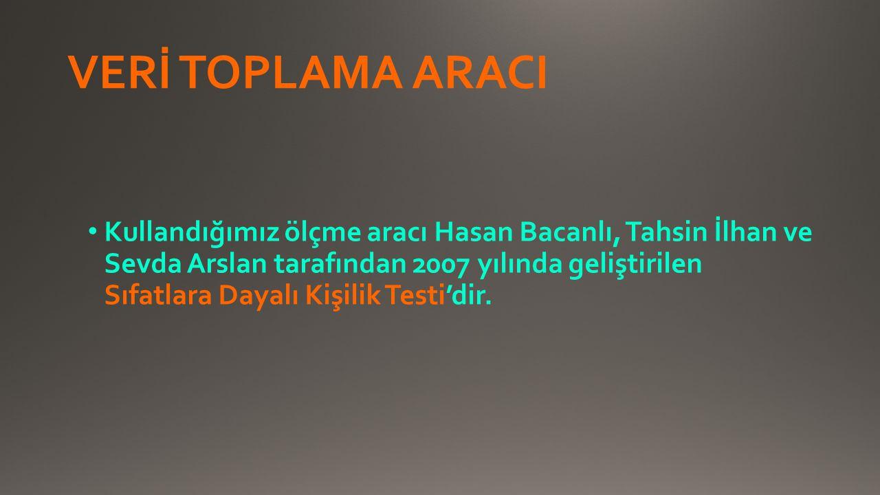 VERİ TOPLAMA ARACI Kullandığımız ölçme aracı Hasan Bacanlı, Tahsin İlhan ve Sevda Arslan tarafından 2007 yılında geliştirilen Sıfatlara Dayalı Kişilik Testi'dir.