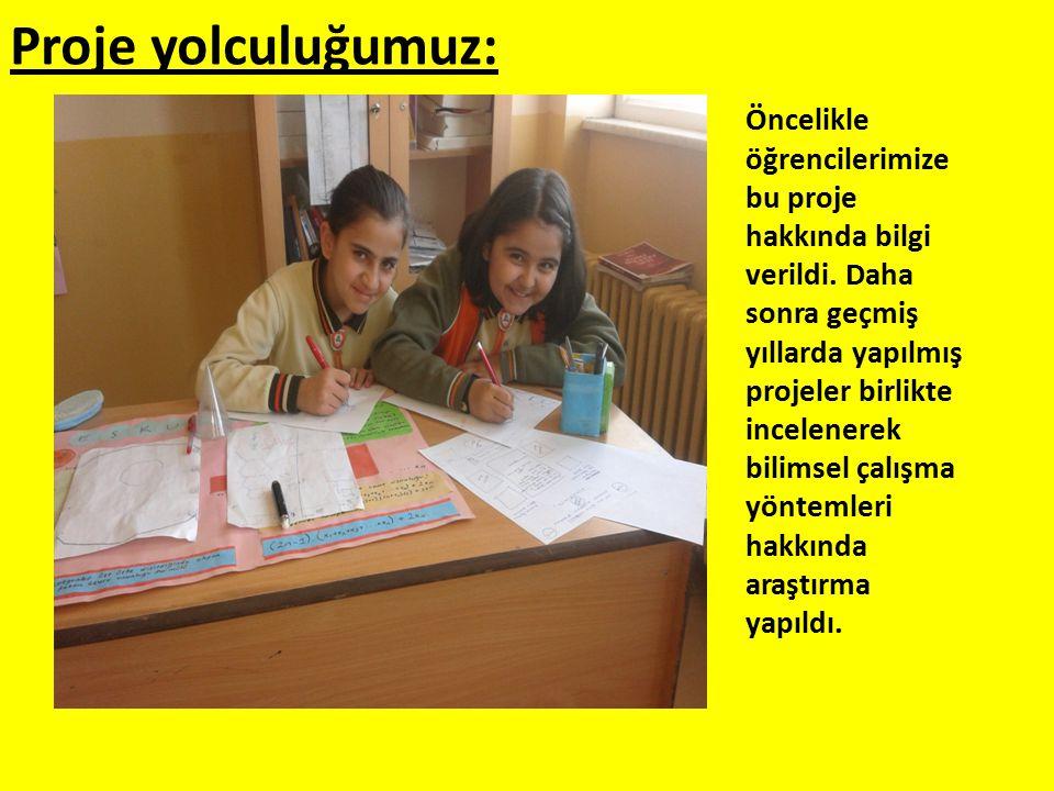 Proje yolculuğumuz: Öncelikle öğrencilerimize bu proje hakkında bilgi verildi. Daha sonra geçmiş yıllarda yapılmış projeler birlikte incelenerek bilim