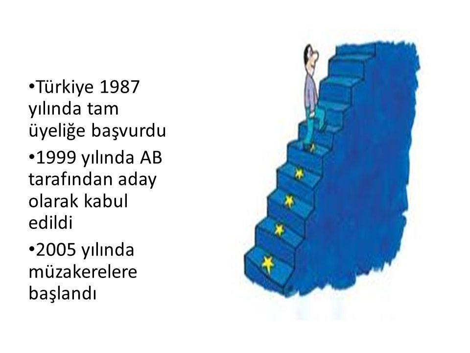 Türkiye 1987 yılında tam üyeliğe başvurdu 1999 yılında AB tarafından aday olarak kabul edildi 2005 yılında müzakerelere başlandı