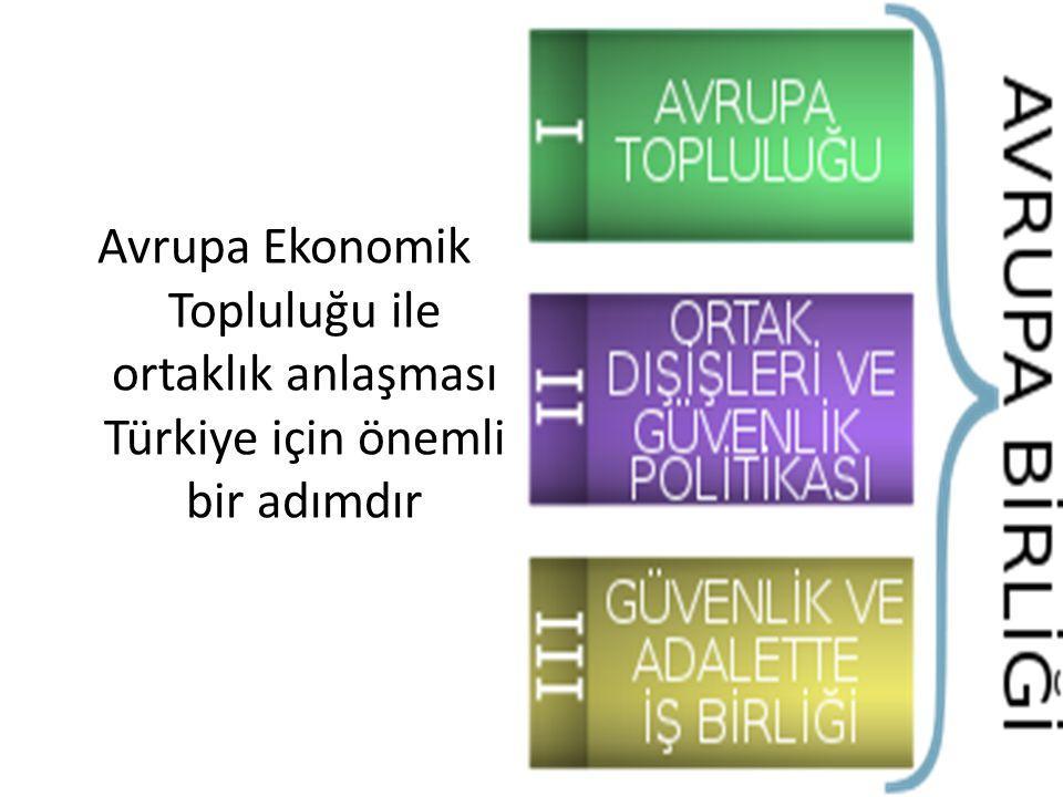 Avrupa Ekonomik Topluluğu ile ortaklık anlaşması Türkiye için önemli bir adımdır