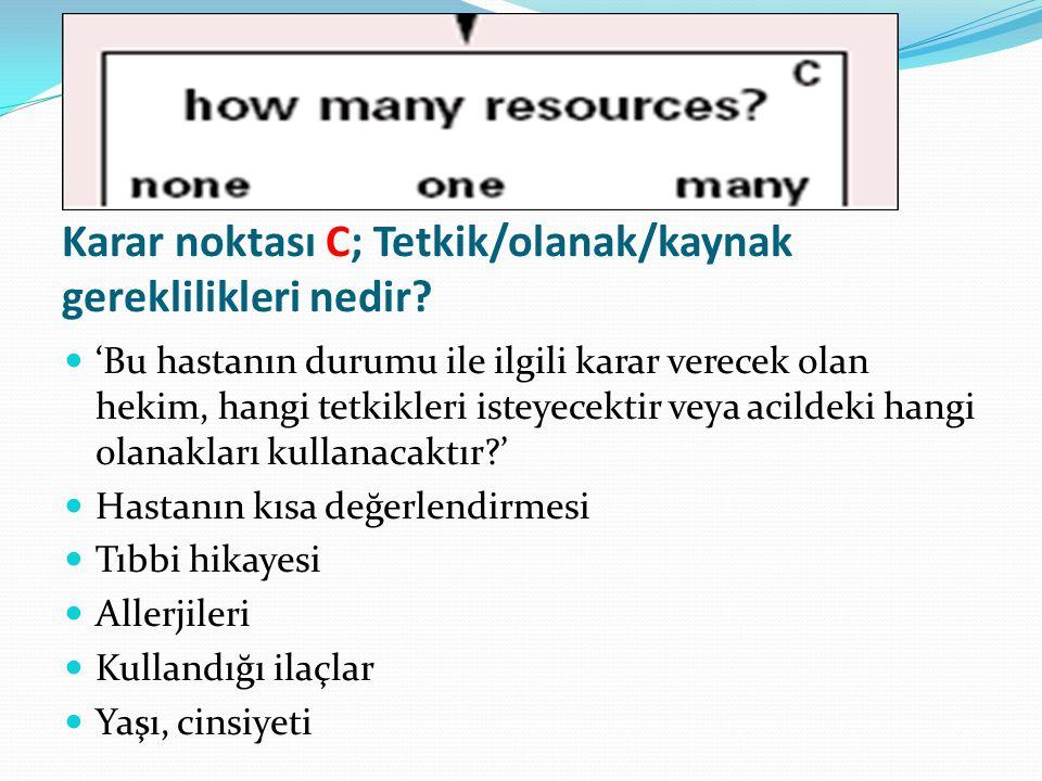 Karar noktası C; Tetkik/olanak/kaynak gereklilikleri nedir.