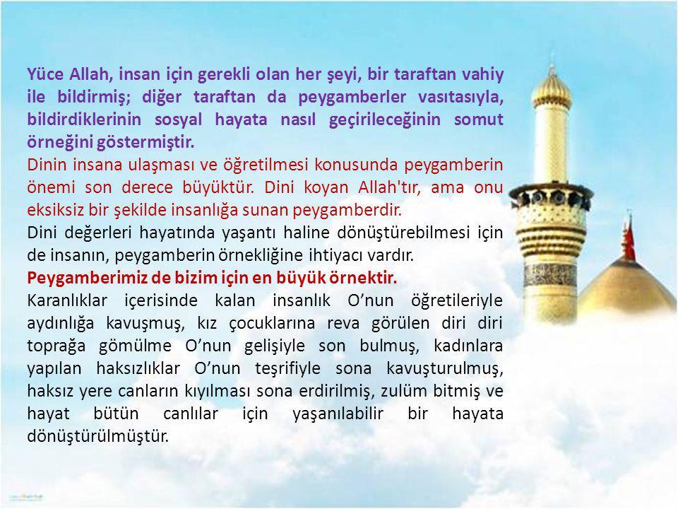 Yüce Allah, insan için gerekli olan her şeyi, bir taraftan vahiy ile bildirmiş; diğer taraftan da peygamberler vasıtasıyla, bildirdiklerinin sosyal ha