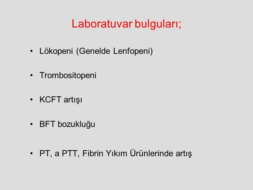 Laboratuvar bulguları; Lökopeni (Genelde Lenfopeni) Trombositopeni KCFT artışı BFT bozukluğu PT, a PTT, Fibrin Yıkım Ürünlerinde artış