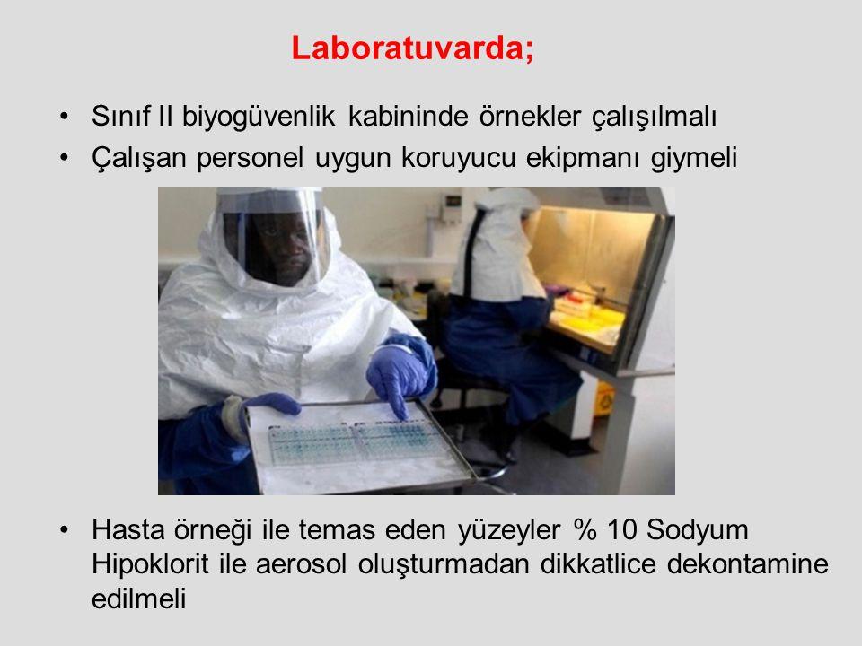 Laboratuvarda; Sınıf II biyogüvenlik kabininde örnekler çalışılmalı Çalışan personel uygun koruyucu ekipmanı giymeli Hasta örneği ile temas eden yüzey