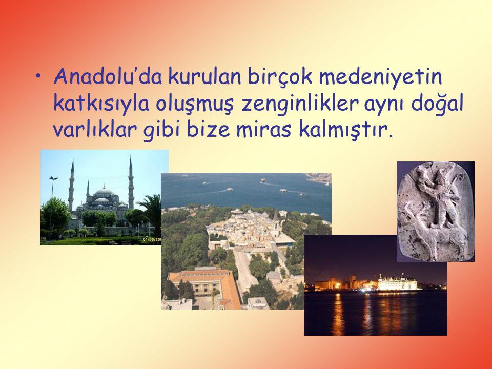 Anadolu'da kurulan birçok medeniyetin katkısıyla oluşmuş zenginlikler aynı doğal varlıklar gibi bize miras kalmıştır.