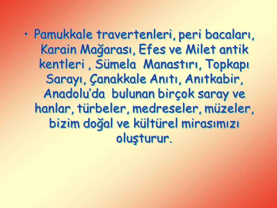 Pamukkale travertenleri, peri bacaları, Karain Mağarası, Efes ve Milet antik kentleri, Sümela Manastırı, Topkapı Sarayı, Çanakkale Anıtı, Anıtkabir, A