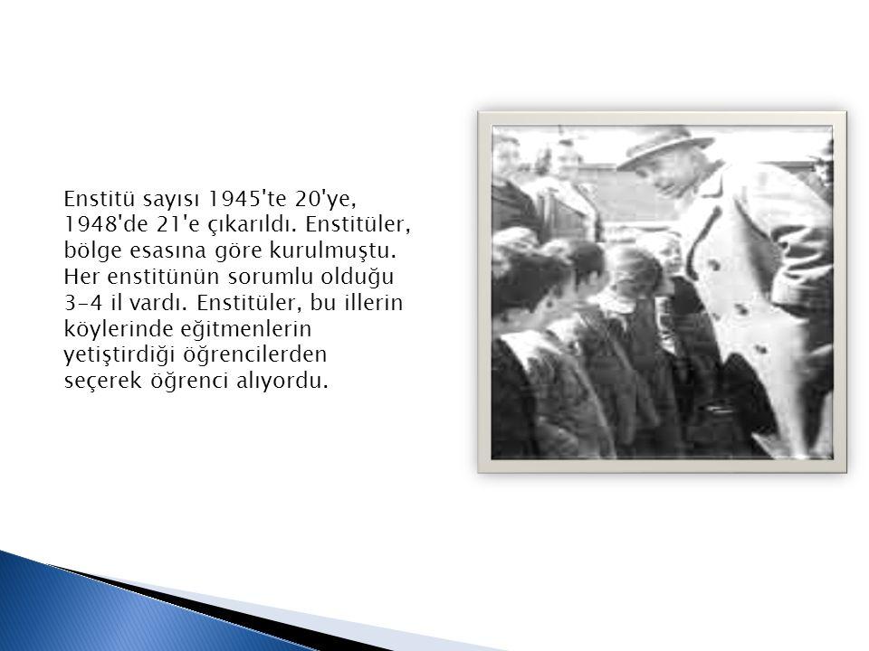 Enstitü sayısı 1945'te 20'ye, 1948'de 21'e çıkarıldı. Enstitüler, bölge esasına göre kurulmuştu. Her enstitünün sorumlu olduğu 3-4 il vardı. Enstitüle