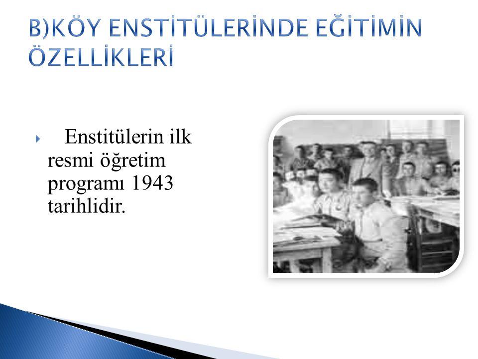  Enstitülerin ilk resmi öğretim programı 1943 tarihlidir.