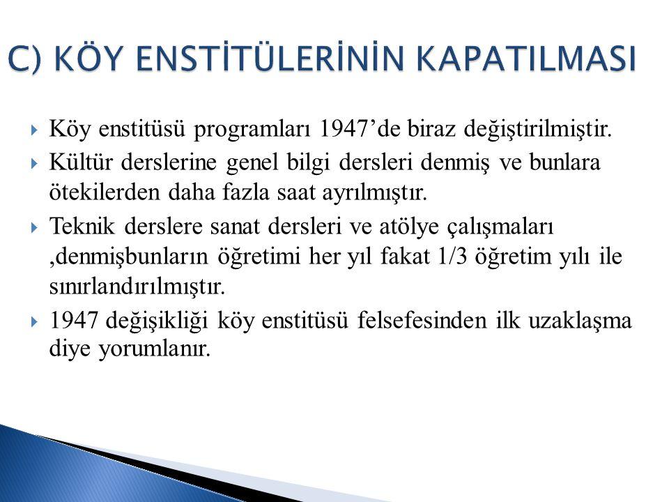  Köy enstitüsü programları 1947'de biraz değiştirilmiştir.  Kültür derslerine genel bilgi dersleri denmiş ve bunlara ötekilerden daha fazla saat ayr