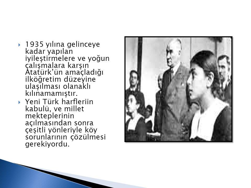  1935 yılına gelinceye kadar yapılan iyileştirmelere ve yoğun çalışmalara karşın Atatürk'ün amaçladığı ilköğretim düzeyine ulaşılması olanaklı kılına