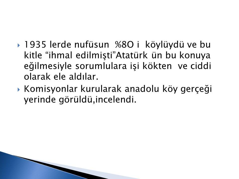 """ 1935 lerde nufüsun %8O i köylüydü ve bu kitle """"ihmal edilmişti""""Atatürk ün bu konuya eğilmesiyle sorumlulara işi kökten ve ciddi olarak ele aldılar."""