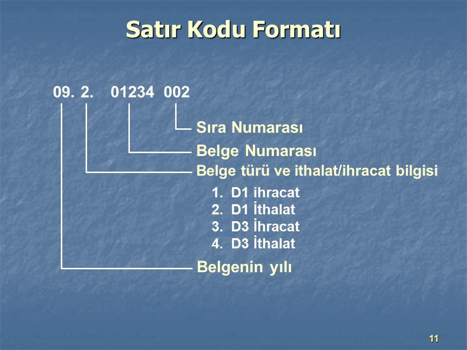 11 Satır Kodu Formatı 09.2.01234002 Sıra Numarası Belge Numarası Belge türü ve ithalat/ihracat bilgisi Belgenin yılı 1.D1 ihracat 2.D1 İthalat 3.D3 İh