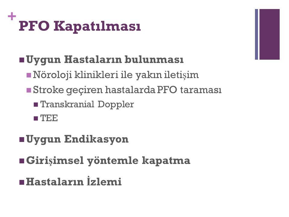 + PFO Kapatılması Uygun Hastaların bulunması Nöroloji klinikleri ile yakın ileti ş im Stroke geçiren hastalarda PFO taraması Transkranial Doppler TEE Uygun Endikasyon Giri ş imsel yöntemle kapatma Hastaların İ zlemi