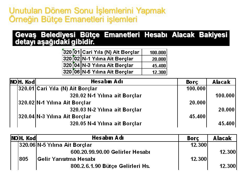 Unutulan Dönem Sonu İşlemlerini Yapmak Örneğin Bütçe Emanetleri işlemleri Gevaş Belediyesi Bütçe Emanetleri Hesabı Alacak Bakiyesi detayı aşağıdaki gibidir.