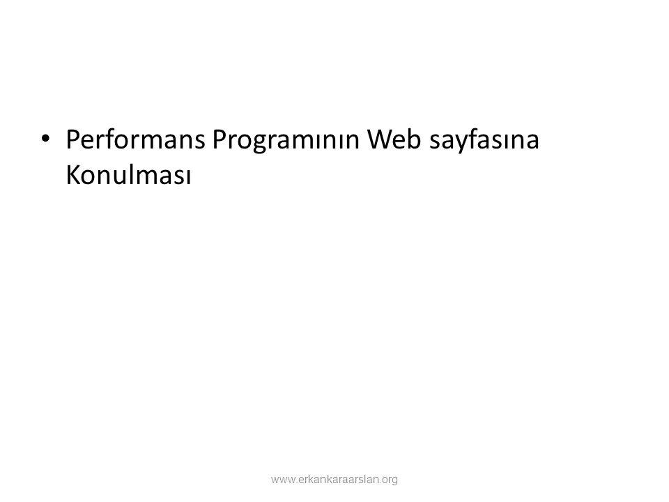 Performans Programının Web sayfasına Konulması www.erkankaraarslan.org