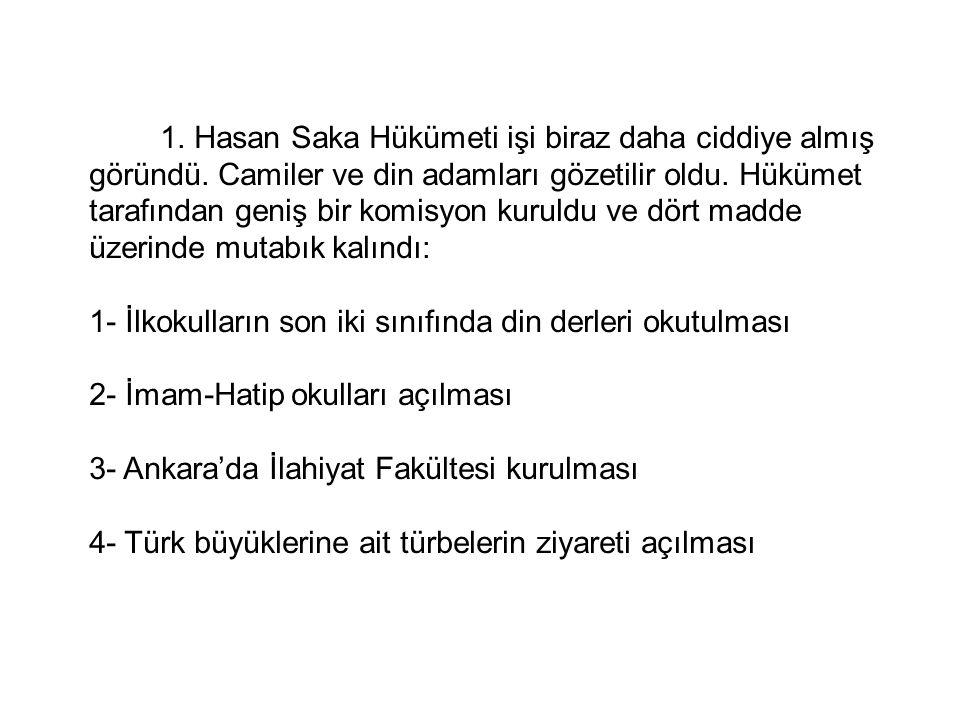 1.Hasan Saka Hükümeti işi biraz daha ciddiye almış göründü.