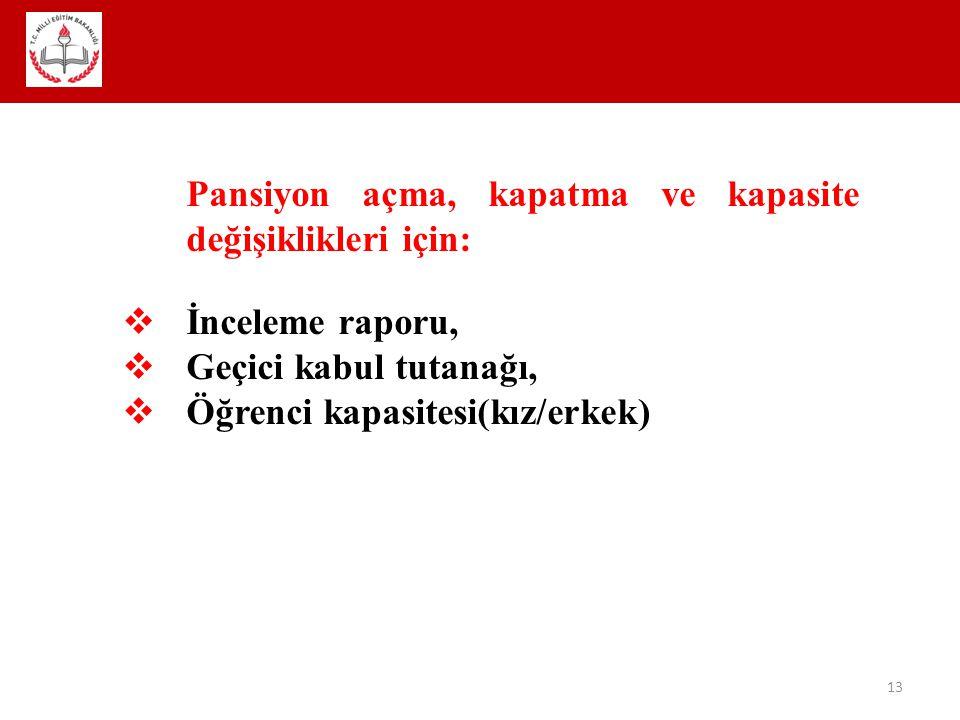 13 Pansiyon açma, kapatma ve kapasite değişiklikleri için:  İnceleme raporu,  Geçici kabul tutanağı,  Öğrenci kapasitesi(kız/erkek)