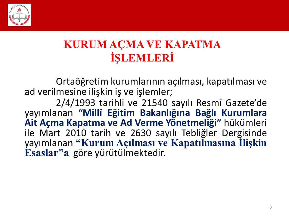 """Ortaöğretim kurumlarının açılması, kapatılması ve ad verilmesine ilişkin iş ve işlemler; 2/4/1993 tarihli ve 21540 sayılı Resmî Gazete'de yayımlanan """""""
