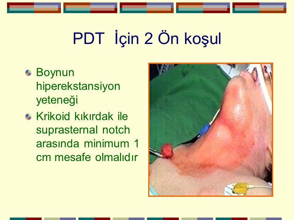 PDT İçin 2 Ön koşul Boynun hiperekstansiyon yeteneği Krikoid kıkırdak ile suprasternal notch arasında minimum 1 cm mesafe olmalıdır