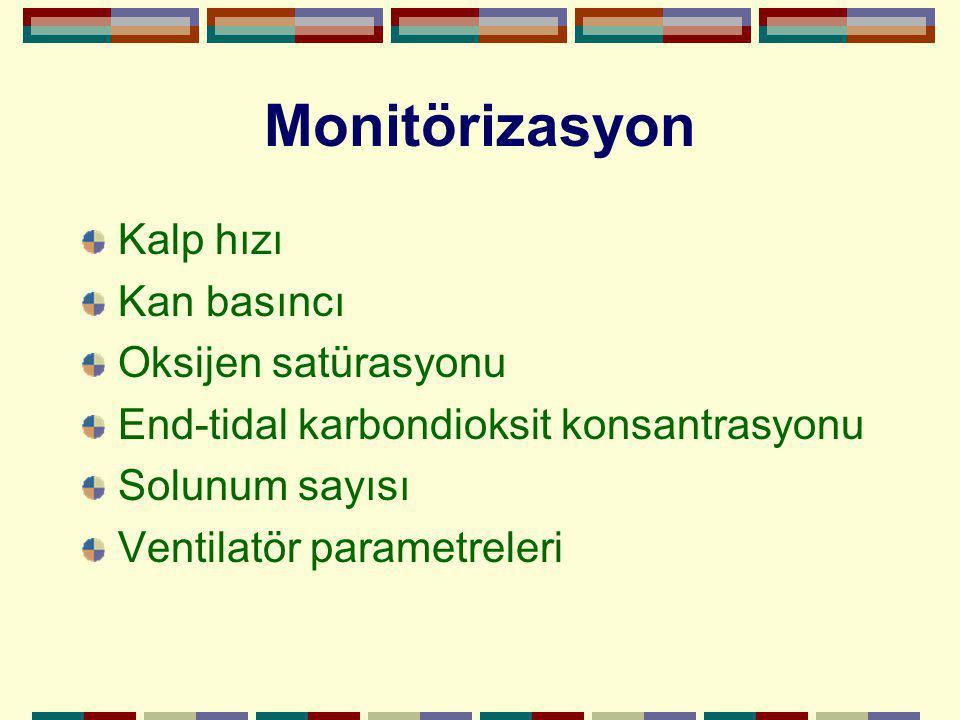 Monitörizasyon Kalp hızı Kan basıncı Oksijen satürasyonu End-tidal karbondioksit konsantrasyonu Solunum sayısı Ventilatör parametreleri