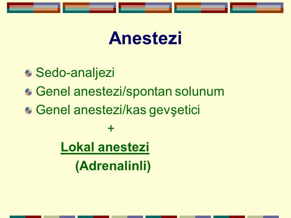 Anestezi Sedo-analjezi Genel anestezi/spontan solunum Genel anestezi/kas gevşetici + Lokal anestezi (Adrenalinli)