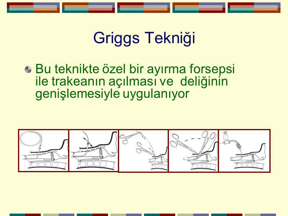 Griggs Tekniği Bu teknikte özel bir ayırma forsepsi ile trakeanın açılması ve deliğinin genişlemesiyle uygulanıyor