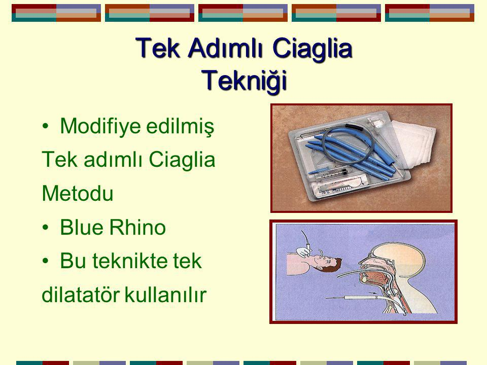 Tek Adımlı Ciaglia Tekniği Modifiye edilmiş Tek adımlı Ciaglia Metodu Blue Rhino Bu teknikte tek dilatatör kullanılır