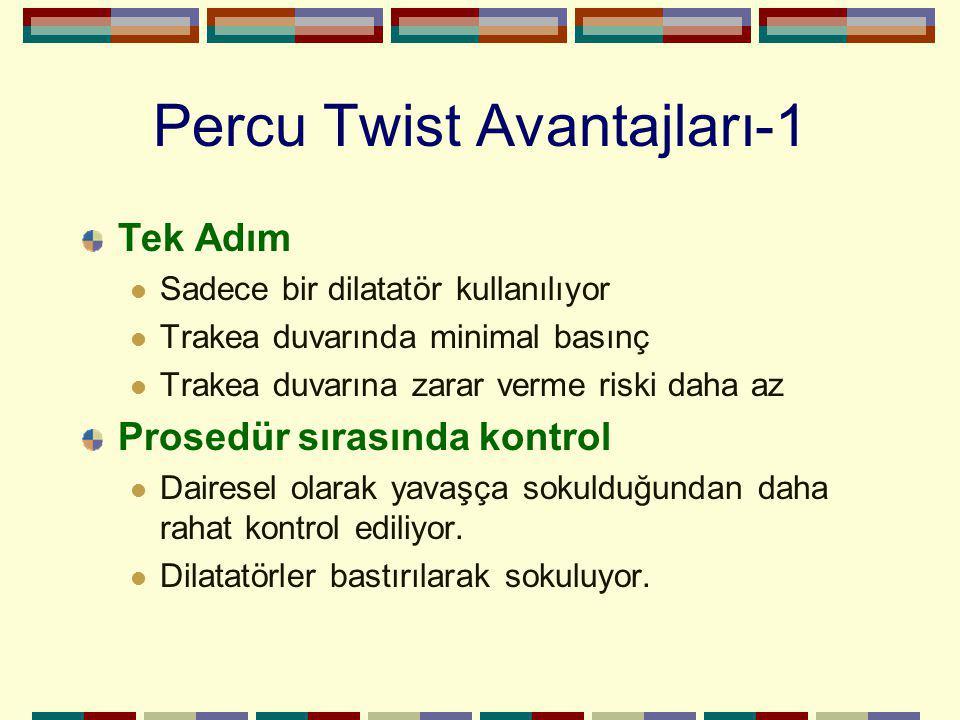 Percu Twist Avantajları-1 Tek Adım Sadece bir dilatatör kullanılıyor Trakea duvarında minimal basınç Trakea duvarına zarar verme riski daha az Prosedü
