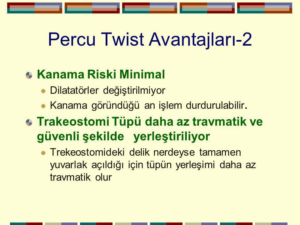 Percu Twist Avantajları-2 Kanama Riski Minimal Dilatatörler değiştirilmiyor Kanama göründüğü an işlem durdurulabilir. Trakeostomi Tüpü daha az travmat