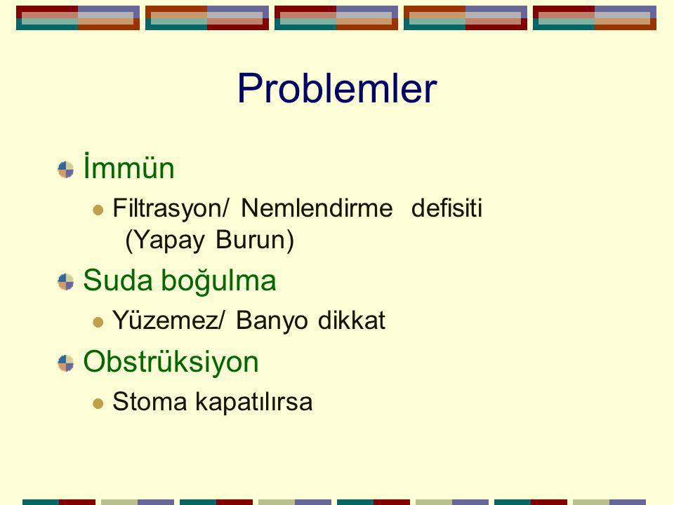 Problemler İmmün Filtrasyon/ Nemlendirme defisiti (Yapay Burun) Suda boğulma Yüzemez/ Banyo dikkat Obstrüksiyon Stoma kapatılırsa
