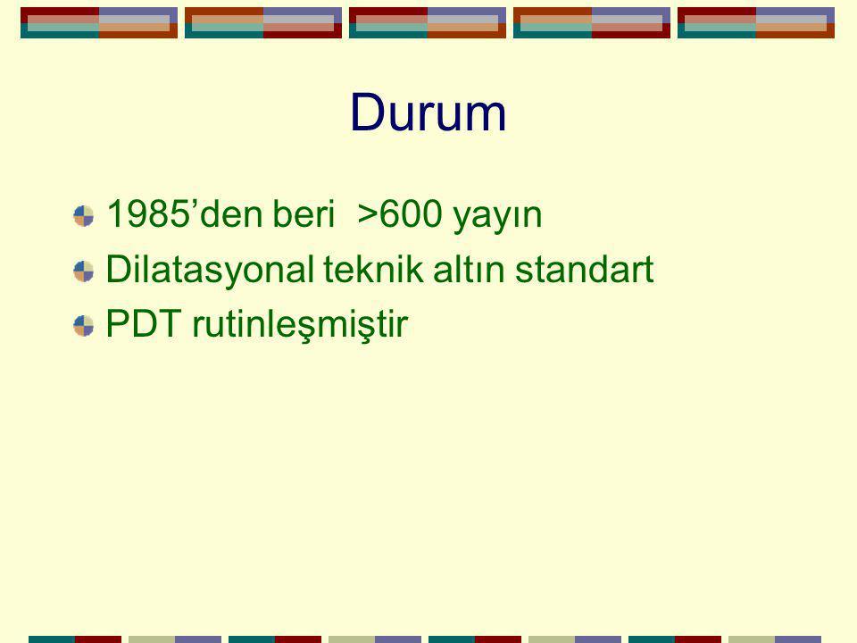 Durum 1985'den beri >600 yayın Dilatasyonal teknik altın standart PDT rutinleşmiştir