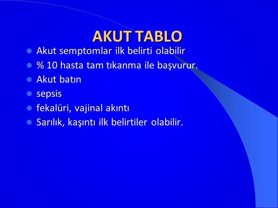 AKUT TABLO AKUT TABLO Akut semptomlar ilk belirti olabilir % 10 hasta tam tıkanma ile başvurur. Akut batın sepsis fekalüri, vajinal akıntı Sarılık, ka